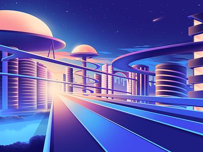 Gradient Utopia city future utopia shape vectorial gradient