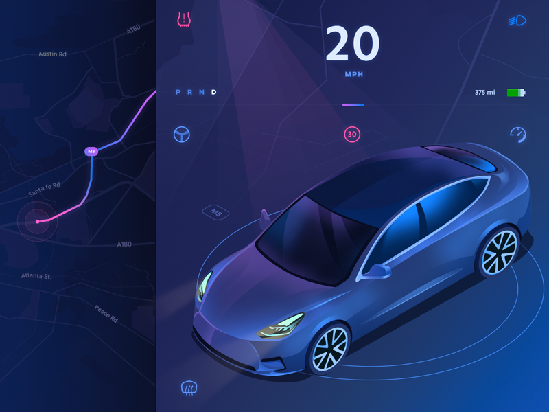GPS app ( in progress )  tesla car map gps app purple gradient 3d isometric