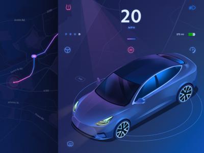GPS app ( in progress ) tesla car map gps app purple gradient 3d isometric