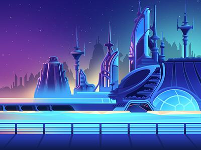 Gradient Utopia 2 illustrator city utopia gradient