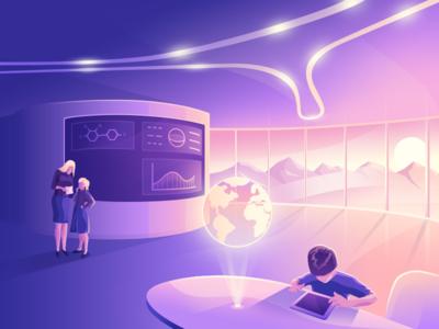 Futuristic School (Illustration) charachter gradient site icon ui design illustration education student school