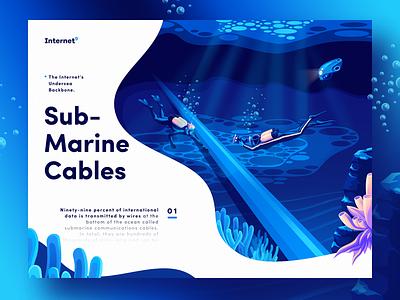 Internet's Undersea Cables sea submarine art design water diver undersea ocean cable page web landing illustration