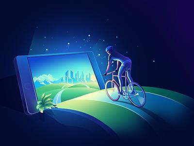 Mobile concept magic walid 2.5d charachter blue green app iphone mobile icon gradient ui design minimal illustration