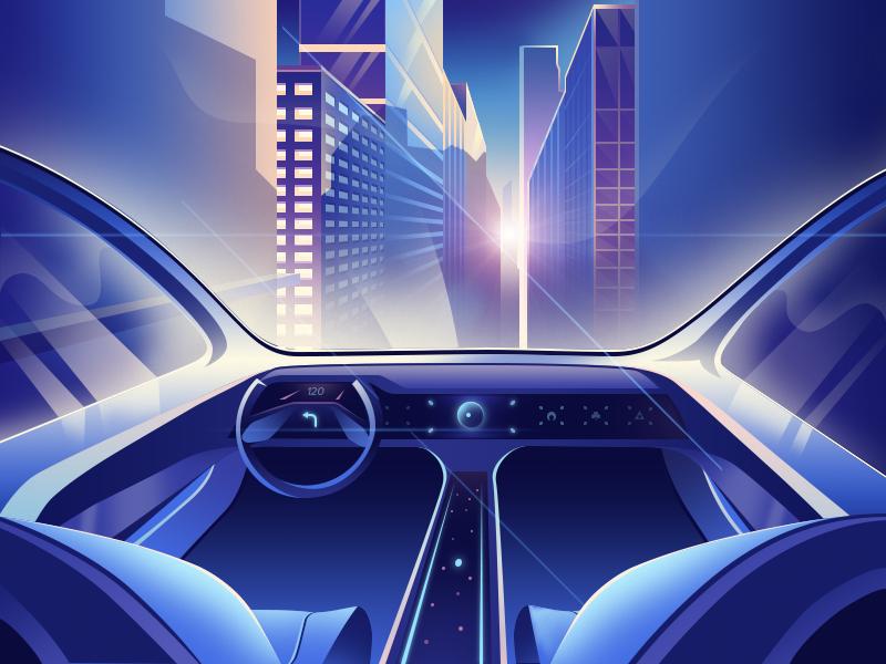 Let's ride the future - illustration futuristic future car city illustration