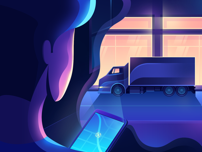 In-Transit Package Tracking gps 3d minimal gradient track mobile map vector design illustration neon city truck