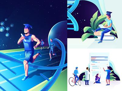 LBS Genetic University - illustration set gradient design branding minimal vector illustration