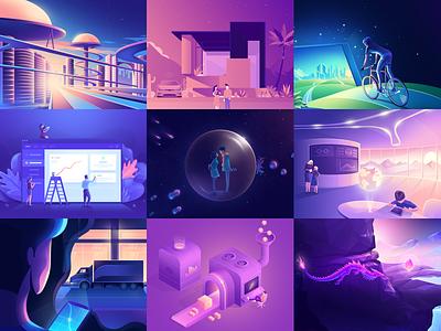 Set 2018 vector icon gradient web ui design 3d landing minimal isometric illustration