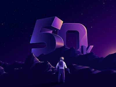50k Followers 🔥🔥🔥 ! isometric vector 2.5d minimal design space purple animation gradient illustration followers dribbble 50k