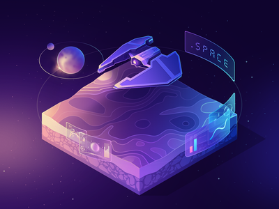 .space domain ( isometric ) planet spaceship svg vector ui gradient 2.5d 3d minimal isometric illustration space