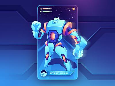 Crypto Droid - App Card minimal branding vector gradient clean ui design landing 3d illustration