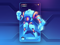 Crypto Droid - App Card minimal branding vector gradient clean ui design landing 3d illustration
