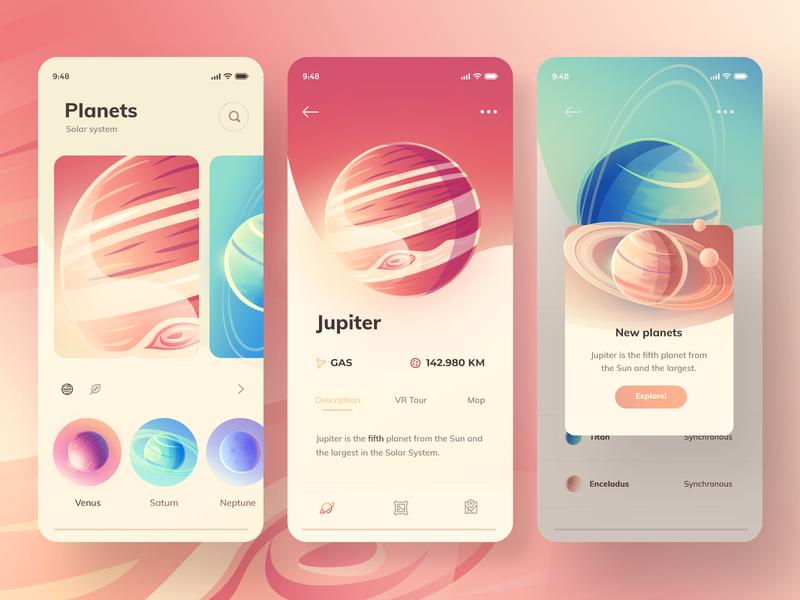 App concept planets mobile app branding vector ui gradient 2.5d minimal illustration
