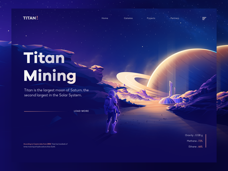 Titan Mining Concept sky planets space saturn titan vector gradient ui design 3d landing isometric minimal illustration nasa