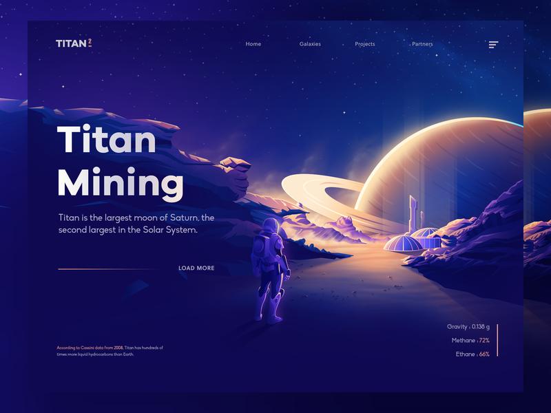 Titan Mining Concept sky planets space saturn titan vector gradient ui design 3d landing isometric minimal illustration nasa