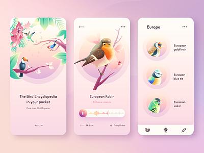 Birds Guide APP bird branding vector icon clean gradient ui design illustration minimal