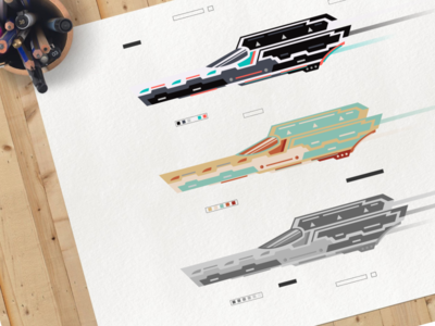 Star Speeder: Different Palettes color palette starwars speeder spaceship spacecraft space inkscape illustration geometricart design