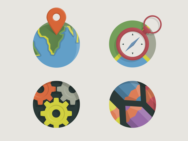 Some vector icons for new UI icons vector flat location pencil settings compas navigator world earth