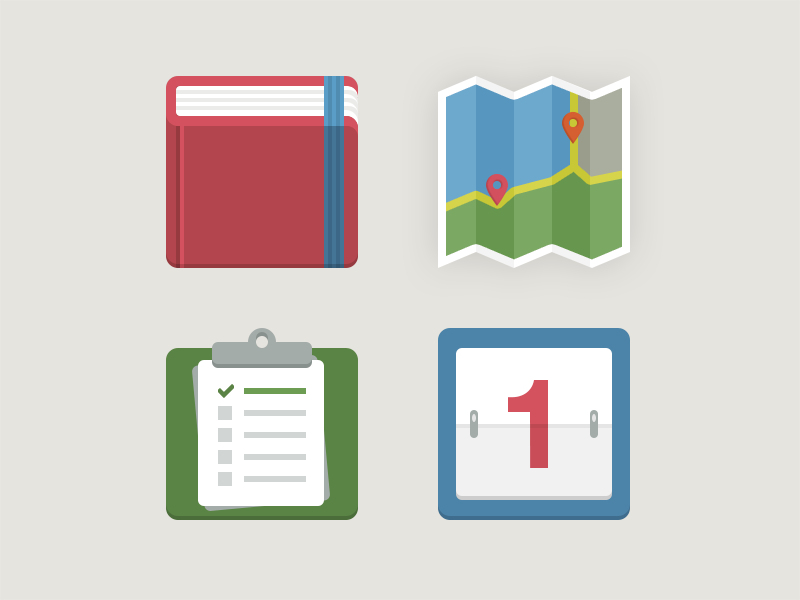 A few more icons flat icons calendar clipboard todo map location book bookmark 1