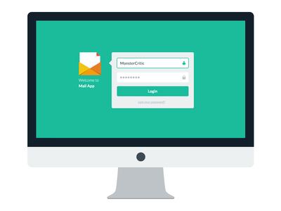 Flat Mail App freebie free ui logo diamond green turquoise designmodo flat