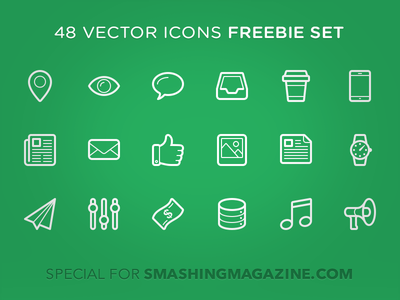 Linecons - 48 outline icons calendar shop clip t-shirt lab food megaphone music banknote params note like mail eye location diamond pen lock tag camera search key user trash video sound tv star heart cloud