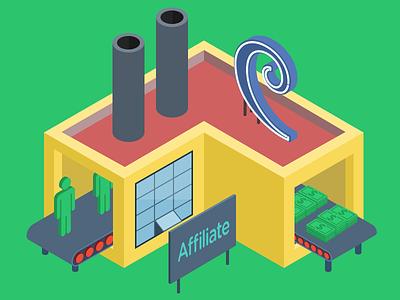 Affiliate Program Factory isometric factory building illustration