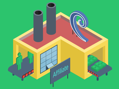 Affiliate Program Factory isometric factory building illustration