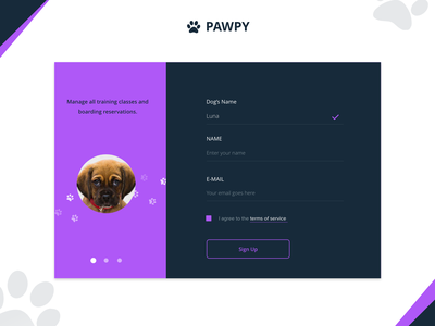 Pawpy Signup Form animal paw signup login training dog puppy