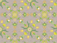 Geometric flower seamless pattern yellow trimmed