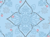 Geometrical floral light blue pattern with pink flowers trimmed