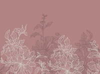 Outlined leaves border in peach