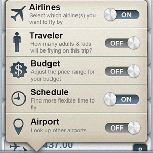 Flight Options Filter iphone flight menu options filter popup airline