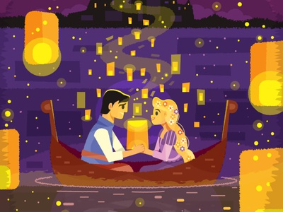 Tangled poster i see the light rapunzel animation walt disney disney lanterns tangled illustration