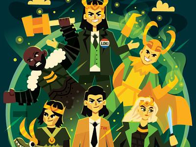 Loki Variants disney plus disney loki series loki odinson loki laufeyson illustration stylized character design character art loki