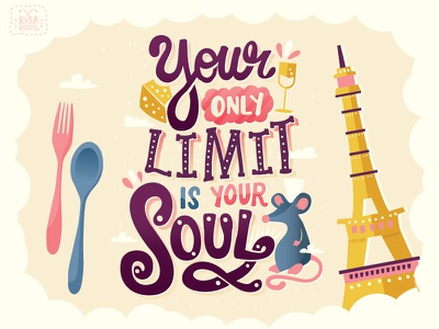 Anyone can cook lettering hand lettering typography handwritten type quote pixar disney ratatouille paris eiffel tower france europe