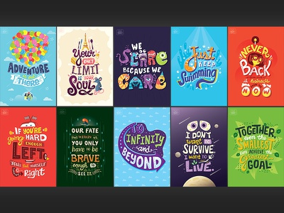 Pixar Quote Posters lettering typography pixar disney up ratatouille monsters inc. finding nemo the incredibles toy story wall e
