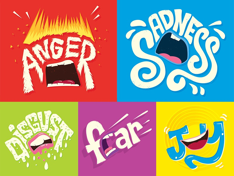 Inside Out Typographic Emotions typography hand drawn hand lettering lettering disney pixar inside out