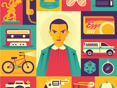 Stranger Things icons illustration retro bike waffle eggo eleven stranger things