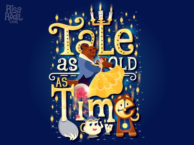 Tale as old as time hand lettering typography lettering sparkes chip mrs. potts lumiere feather duster cogsworth belle disney beauty and the beast