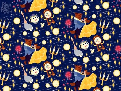 Beauty and the Beast Pattern illustration pattern sparkes chip mrs. potts lumiere feather duster cogsworth belle disney beauty and the beast