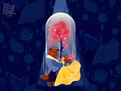Beauty and the Beast illustration poster sparkes chip mrs. potts lumiere feather duster cogsworth belle disney beauty and the beast