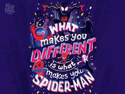 What's up danger spiderman spiderham miles morales gwen stacy spiderwoman spidergwen spiderverse marvel handwritten type illustration hand lettering typography lettering