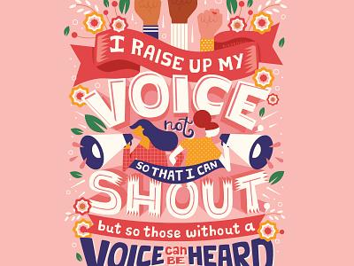 Raise Your Voice girl power feminist women empowerment empowered women inspirational strong females feminism word art handwritten type illustration hand lettering typography lettering
