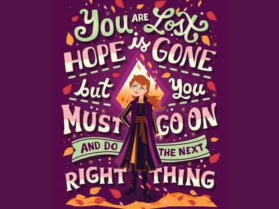 Next Right Thing character design anna frozen disney handwritten type illustration hand lettering typography lettering