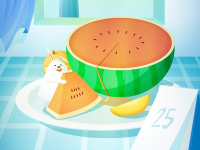 Summer with watermelon