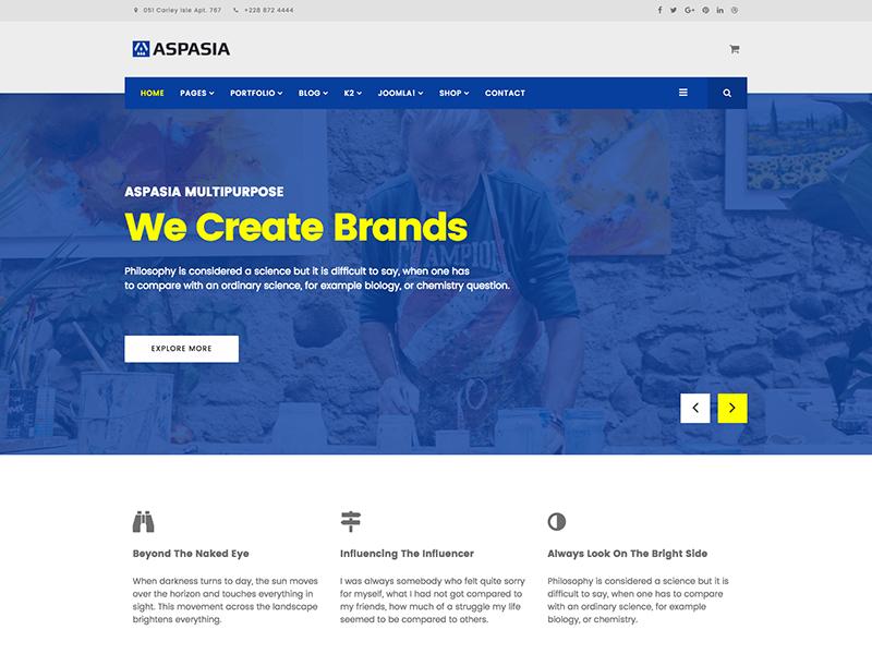 Aspasia - Joomla Template for Small Business & Portfolio business portfolio template responsive multipurpose joomshaper joomla creative