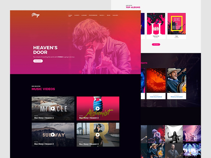 Strings - Music Band & Musician Web Template web dj band concert show event template website musician music