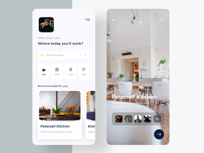 Coworking Space App ui design minimal clean workspace workshop work typogaphy task product design hotel office mobile icons design co-working coffee business card cafe cowork