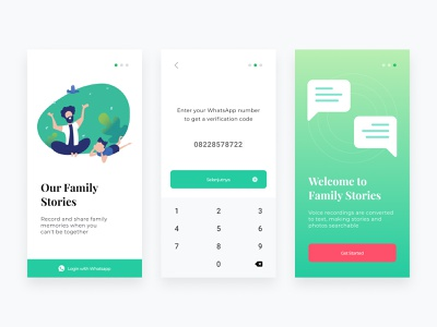 Family Stories ios login story verification ui illustration minimalist minimal mobile clean green white sign in
