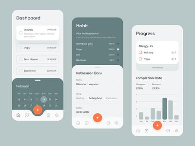 Habit App Exploration android app minimalist minimal clean ios mobile card habit dashboad
