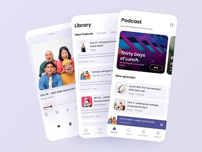 Exploration Podcast Platform - Whitemode clean design music app design spotify minimalism card playlist episode podcast library